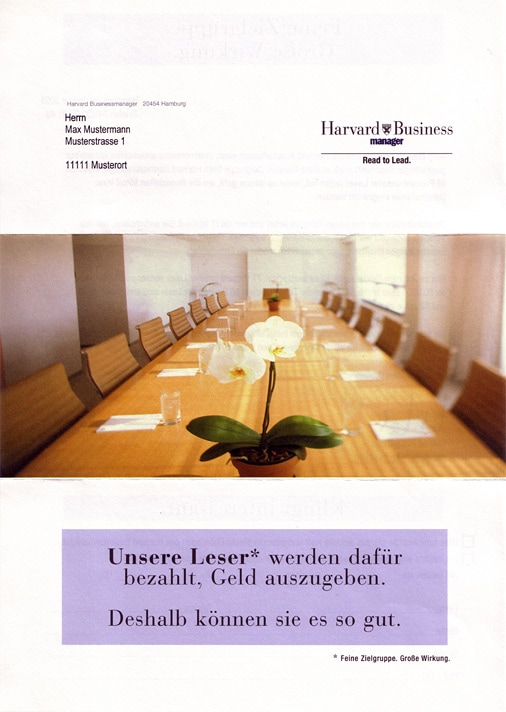 Mailing Harvard Businessmanager Titelseite
